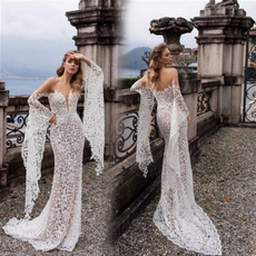 gowns, long skirt, sleeve dress, Encaje