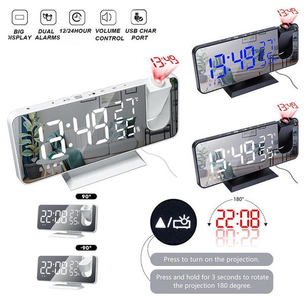 projectionalarmclock, alarmclockprojector, temperatureandhumidityclock, led