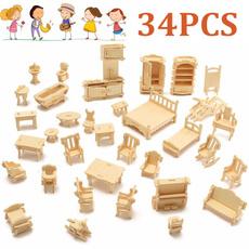 Toy, woodenhouse, Wooden, furnituremodel