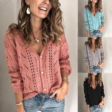 sleeve v-neck, knitted, cardigan, Knitting