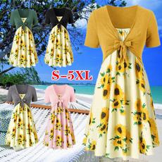 Mini, Fashion, Sleeve, Sunflowers