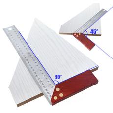 carpenterauxiliarytool, redwoodhandledesignlsquareruler, carpentryprotractor, positioningwoodworkingfixture