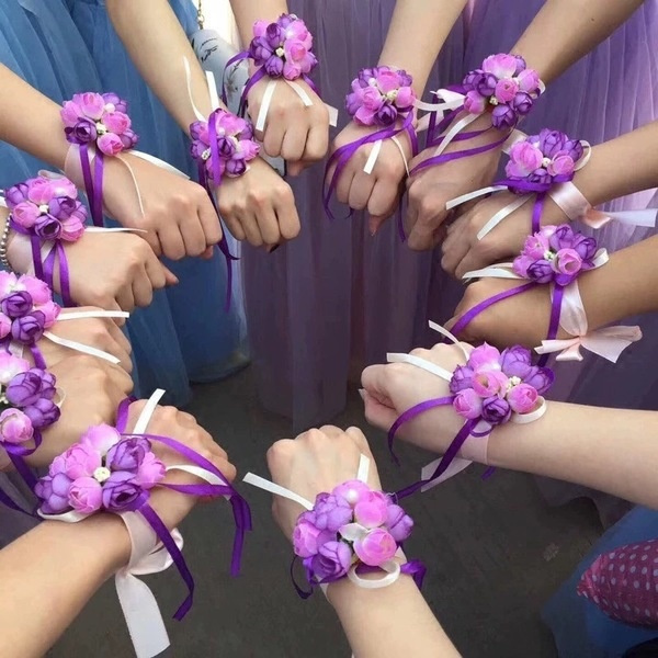 weddingparty, wristbandbracelet, Flowers, Bridesmaid