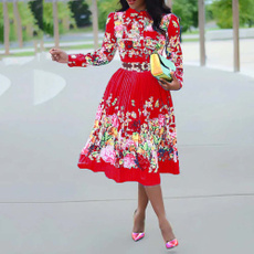 Plus Size, print dress, Office, Long Sleeve
