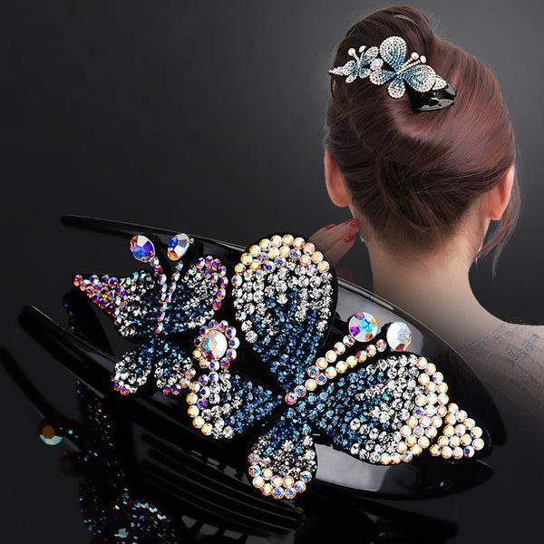 butterfly, hair, crystalhairclip, Elegant