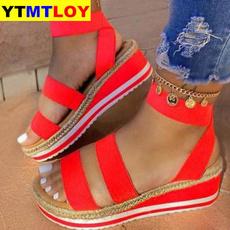 Summer, Sandals, Patchwork, Platform