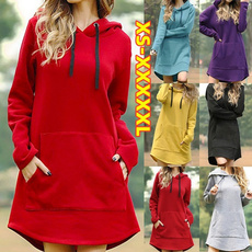 hooded, sweater dress, Winter, Sleeve
