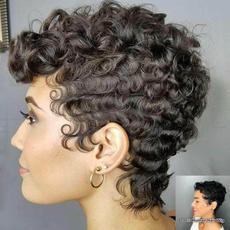 wig, Black wig, Shorts, Curly Hair