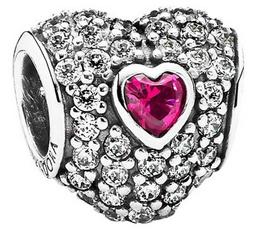 Серце, Charm, червоний, Pandora