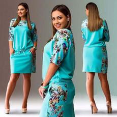 Summer, Plus Size, Floral print, Dresses