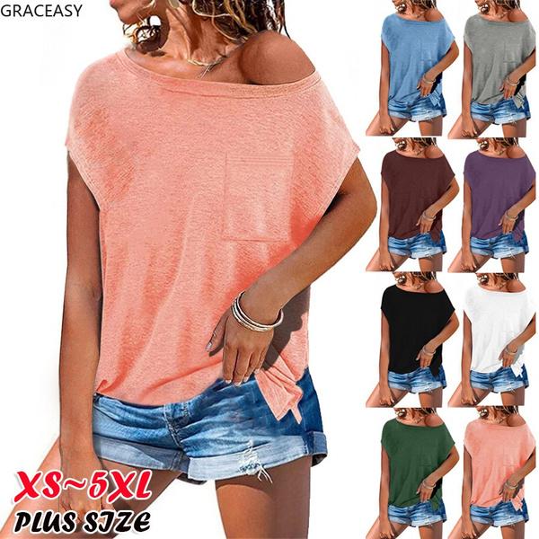 blouse, Summer, Loose, off the shoulder top