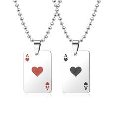 trendy necklace, Steel, Poker, mens necklaces