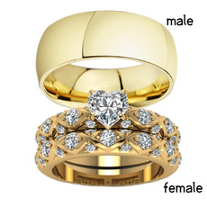 goldplated, Heart, wedding ring, Gifts