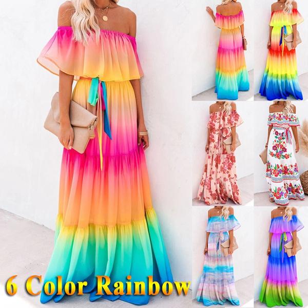 rainbow, tieredmaxidre, tiedyedre, Swing dress