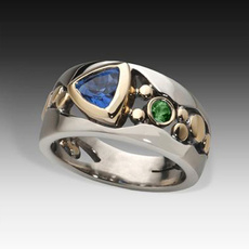 Blues, Sterling, emeraldring, Blue Sapphire