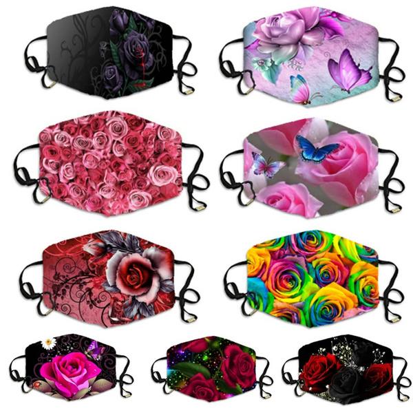 roseprint, Floral print, printedfacemask, Colorful