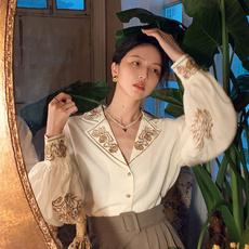 sleeve v-neck, Fashion, floralembroiderytop, womencasualshirt