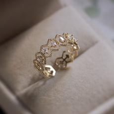 Fashion, gold, Engagement Ring, baguefemme