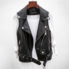 Turn-down Collar, puleatherjacket, Vest, vestcoat