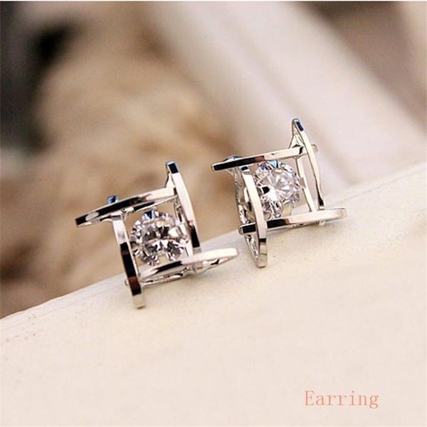 Sterling, DIAMOND, Stud Earring, squarediamondearring