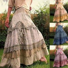long skirt, Stitching, high waist, Vintage