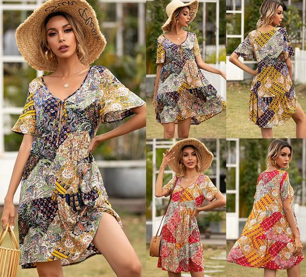 Summer, Fashion, Floral print, Sleeve