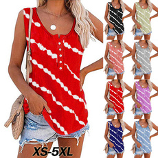 diagonalstripprinted, Fashion, Tank, Necks