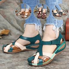 beach shoes, Sandals, leather, Women's Fashion