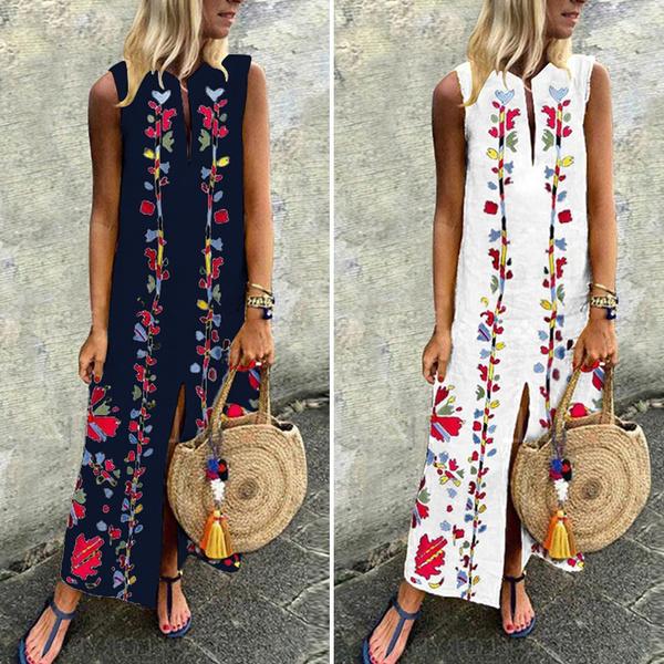 Summer, Plus Size, floralprintdres, long dress