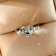 Heart, Engagement, Jewelry, Silver Ring