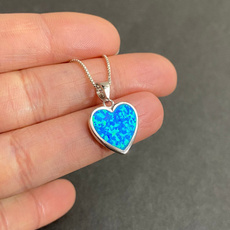 Blues, Heart, circlenecklace, Jewelry