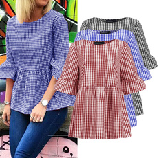 plaid shirt, Plus Size, ruffle, Summer