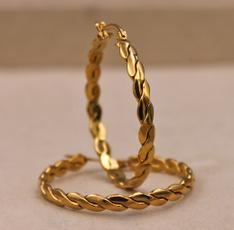 bighoopearring, Vintage, Hoop Earring, gold plated earrings