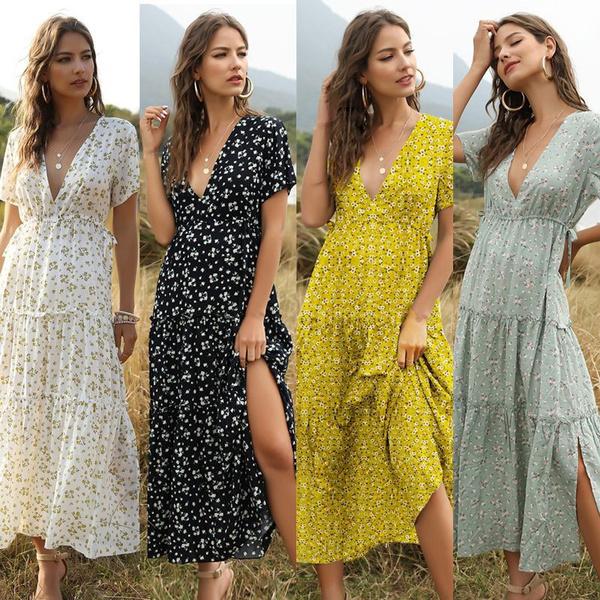 Summer, Plus Size, Print Dresses, Necks