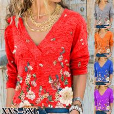 Plus Size, Women Blouse, Long Sleeve, V-neck