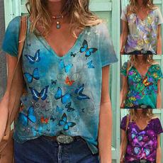 butterfly, Summer, Plus Size, Cotton T Shirt