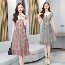 slim dress, chiffon, Summer, chiffon dress