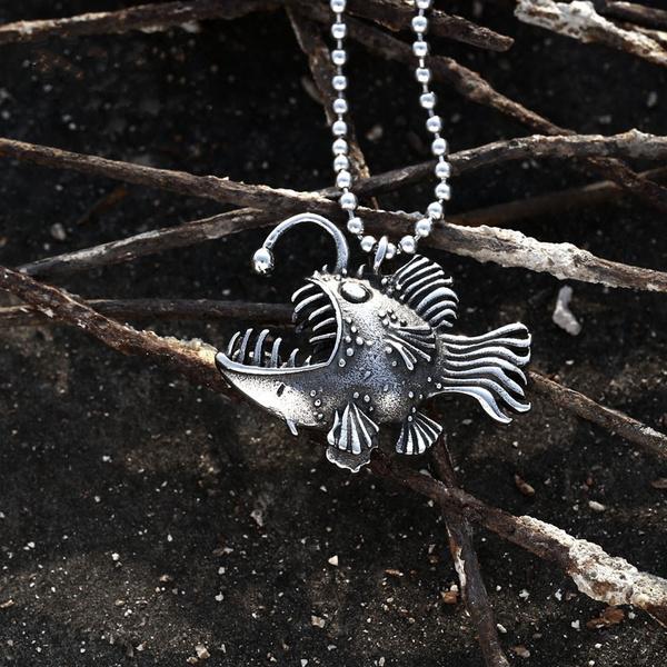 mens necklaces, titanium steel, punk necklace, fish