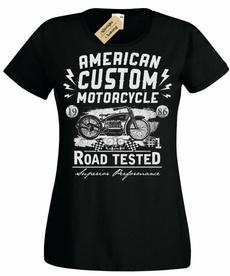 Custom, American, mujer, motero