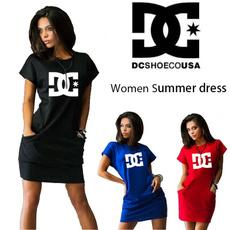 Summer, short sleeve dress, Dress, slim