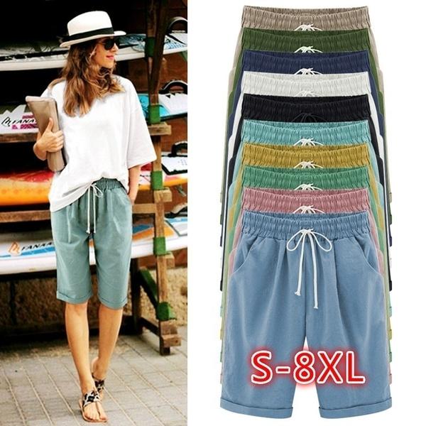 Summer, Plus Size, Lace, Casual pants