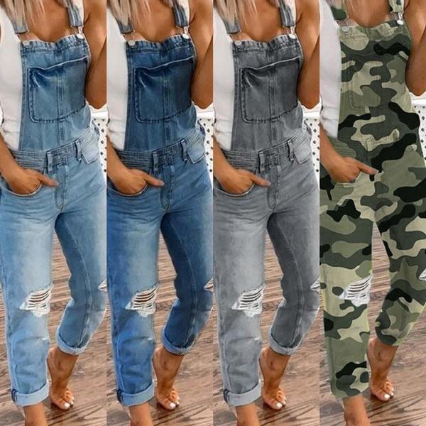 Plus Size, denim overalls women, Denim, pants