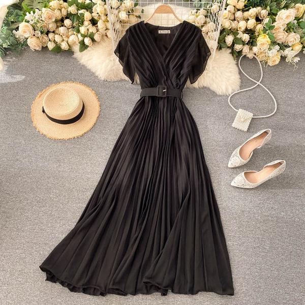 Summer, pleated dress, chiffon, long dress