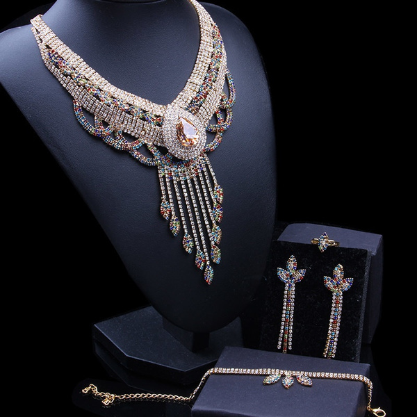 Necklace, rhinestonejewelryset, earringandnecklaceset, rhinestonechainnecklace