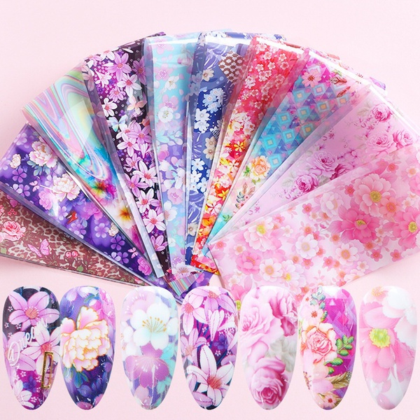 nail decoration, nail decals, Flowers, art