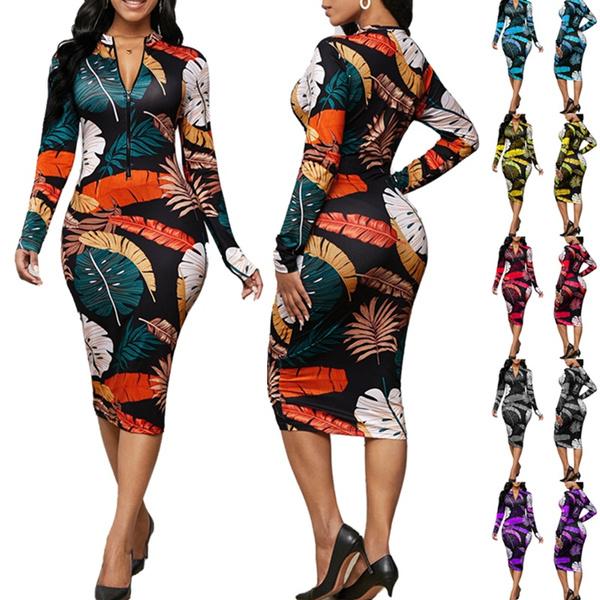 pencil, Deep V-neck Dress, Long Sleeve, women club wear
