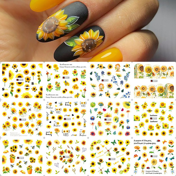 butterfly, nail decoration, Flowers, leaf