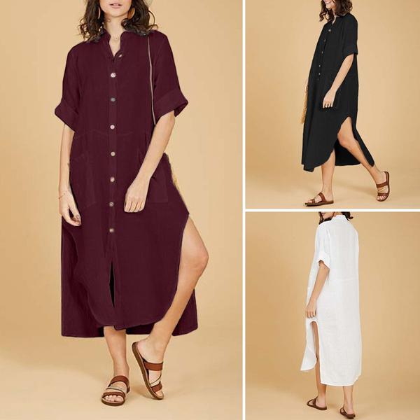 buttondowndres, looseblousedres, womens dresses, plaincolordres