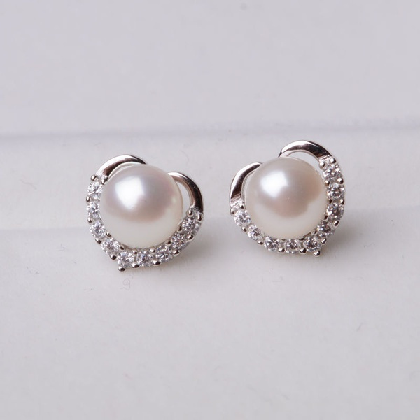 cshapedstudearring, DIAMOND, Crystal Jewelry, Pearl Earrings
