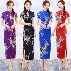 Flowers, Chinese, cheongsam, Dress